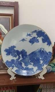 售 約40公分完整印判富士山風景盤