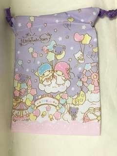 購自日本🇯🇵 Little Twin Stars 粉紫色拉繩布袋 (前後圖案不同)