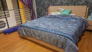 king bed size + mattress + bedside table