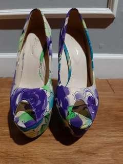 Sepatu wedges floral