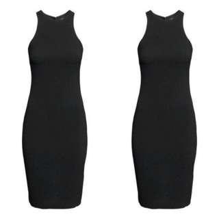 H&M Sleeveless Black High Neck Bodycon Midi Dress