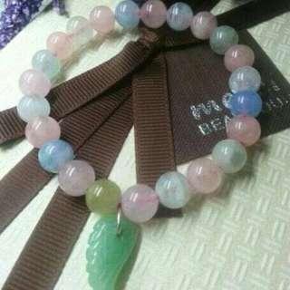 8mm冰种摩根石手串➕东陵玉翅膀吊坠 8mm Morganite Bracelet ➕ Dongling Jade Wing Pendant