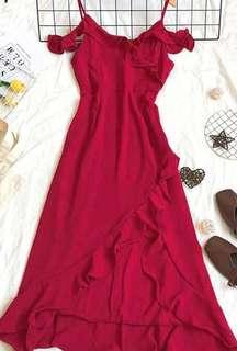 Wine Red Evening Dress Gown