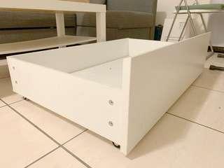 IKEA 床底收納抽屜 附輪子 白色