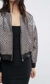 Metallic quilted bomber jacket