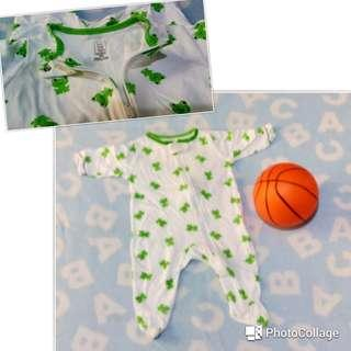 OverAll White&Green 0-3mos 🚼