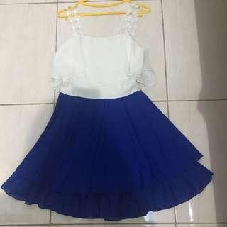 Blue white putih biru dress gaun