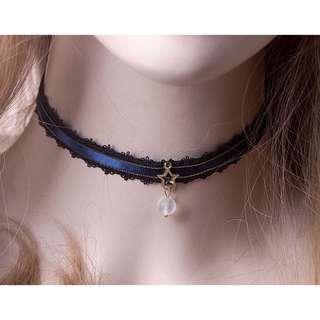 🚚 星空藍🌙絲質 手工 頸鏈 項鍊 頸圈