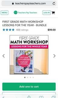First GRADE math workshop lessons for the whole year