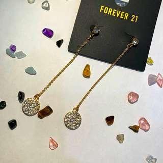 🚚 全新,Forever 21水鑽質感垂墜耳針 耳環