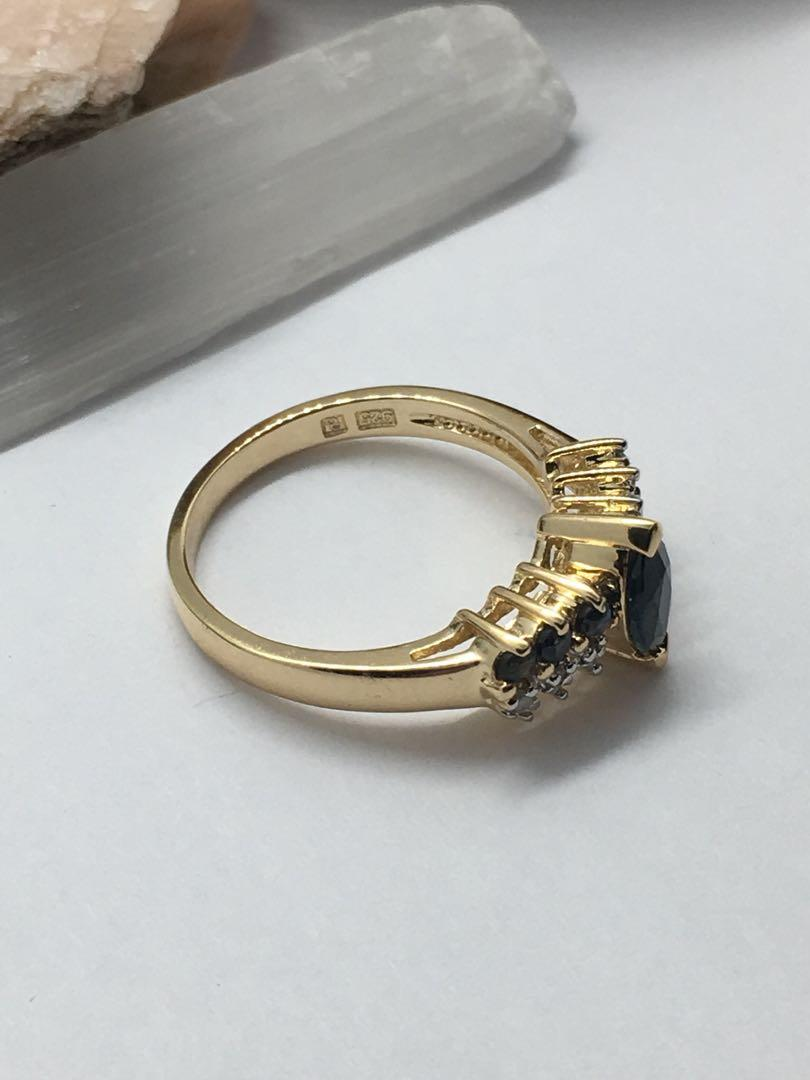 925 silver 10kt gold plated sapphire &diamond ring