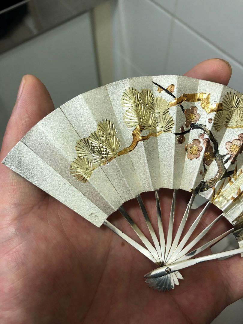 日本純銀扇置物