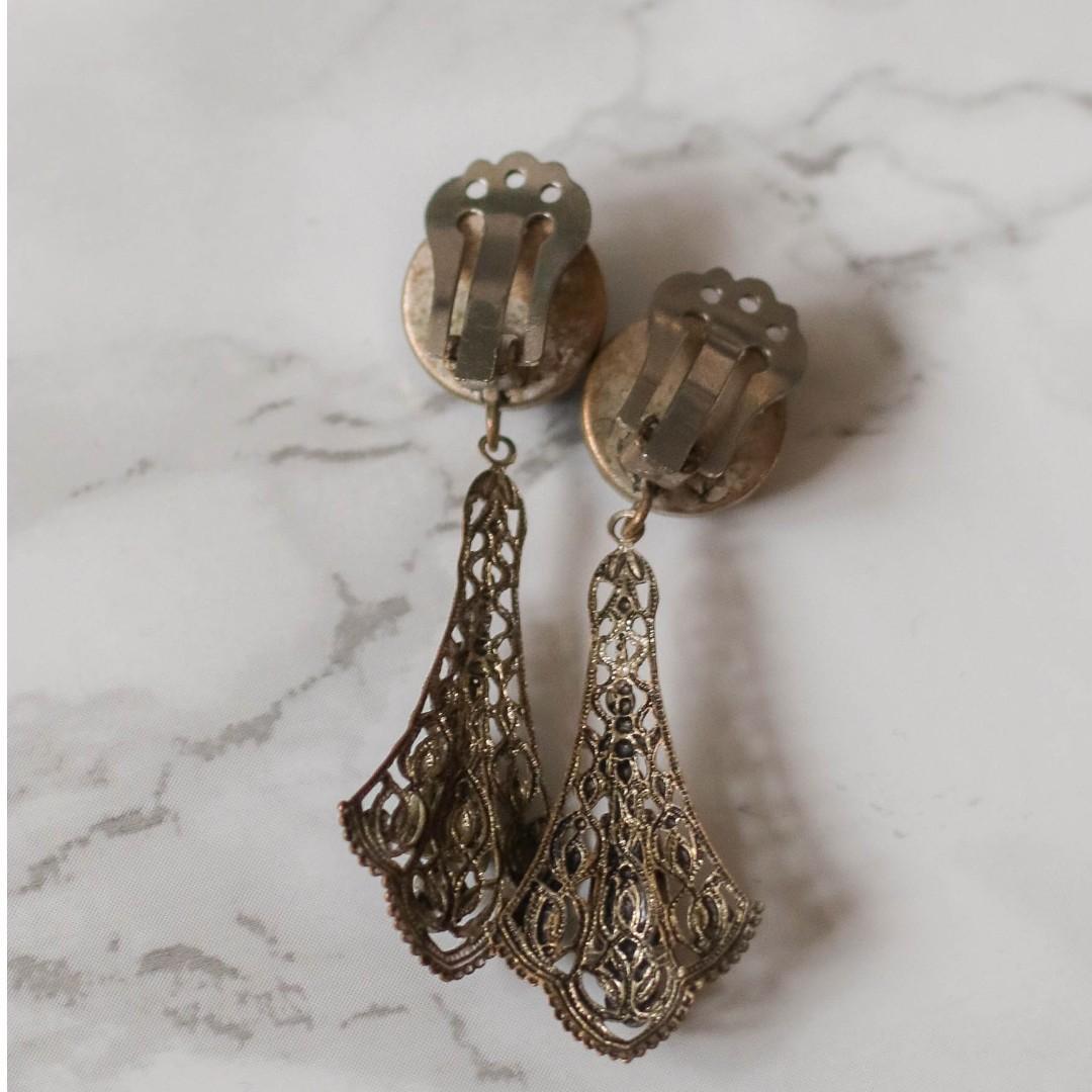 1920s Antique Art Deco Filigree Long Drop Elegant Earrings
