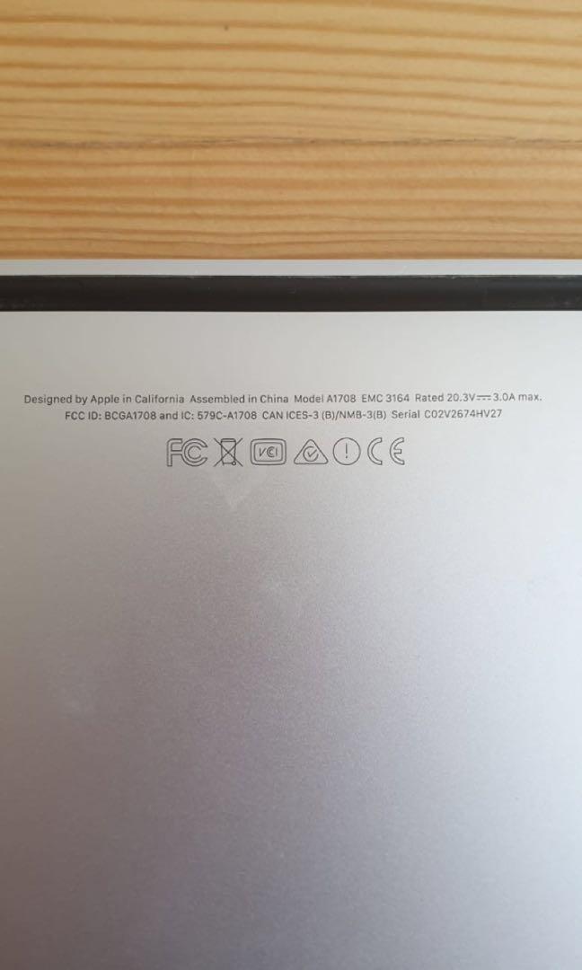 Apple Macbook Retina 13-inch 2017 A1708 128GB Silver (No Touchbar)