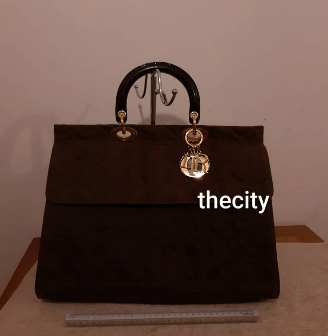AUTHENTIC DIOR, XL LARGE LADY DIOR FLAP BAG - NYLON CANVAS - GOLD HARDWARE - CLEAN INTERIOR,  SOLID SHAPE STRUCTURE- RARE DESIGN- (LARGE LADY DIOR BAGS NOW RETAIL OVER RM 17,000+) -