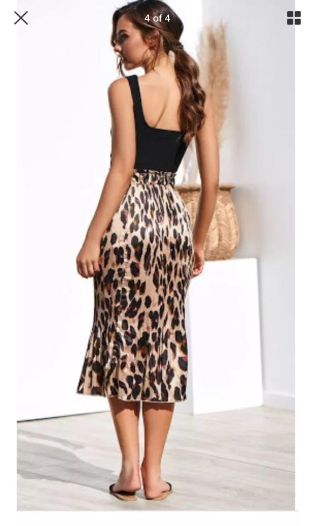 Bnwot High Waisted Tanya Stretchy Leopard Print Midi Skirt Size 8