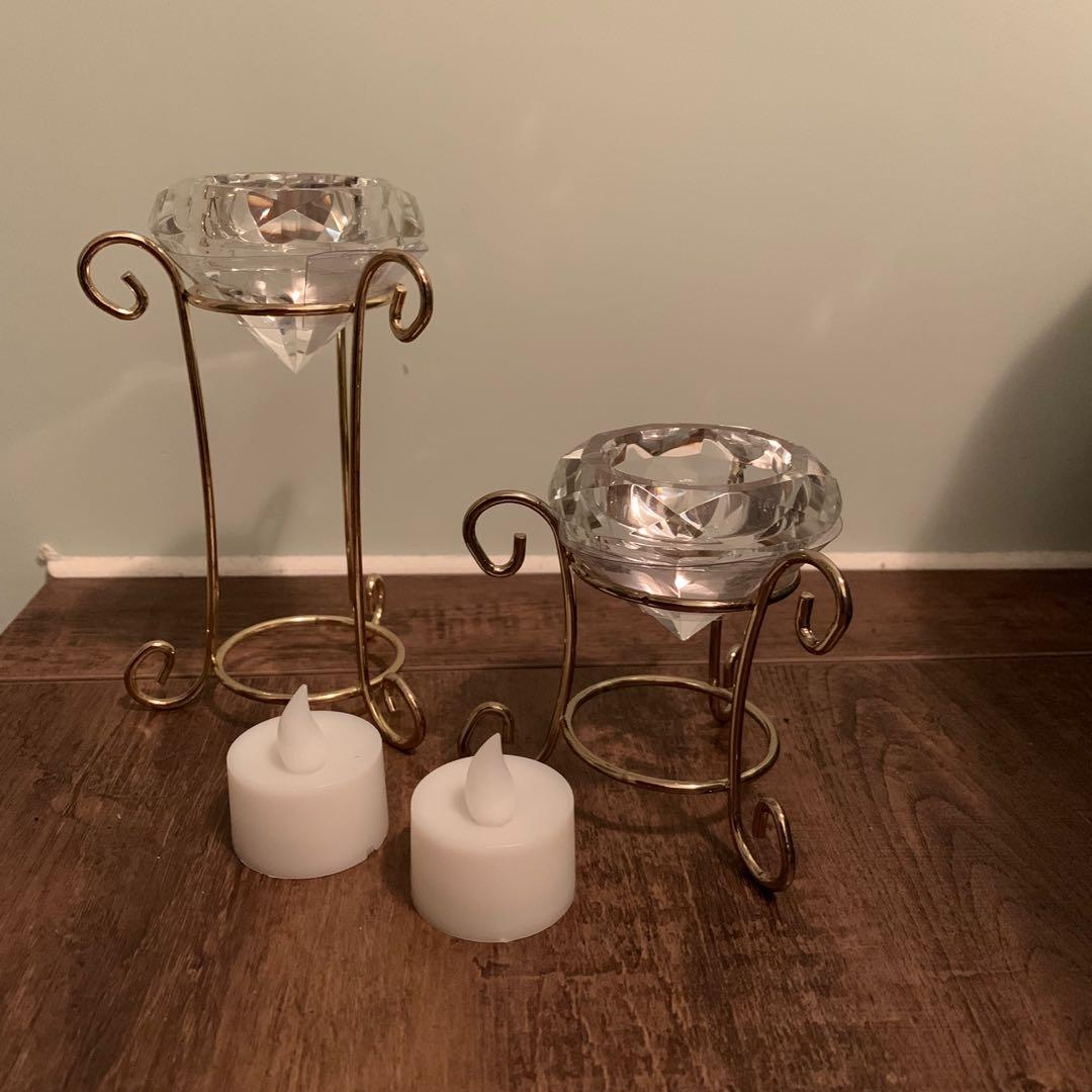Candle holder with LED candle 蠋台連LED蠟蠟