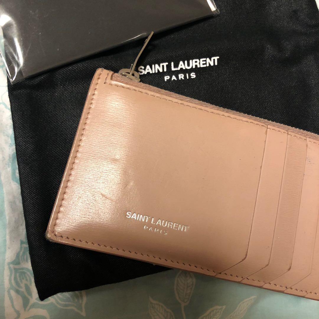Classic Saint Laurent Zippered Card Case in Fuschia Smooth Leather