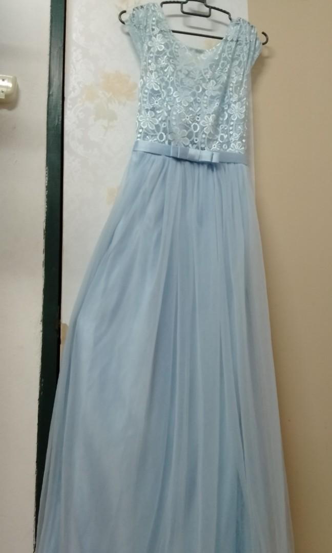 [Free post sm] Dinner Long Dress Light Blue