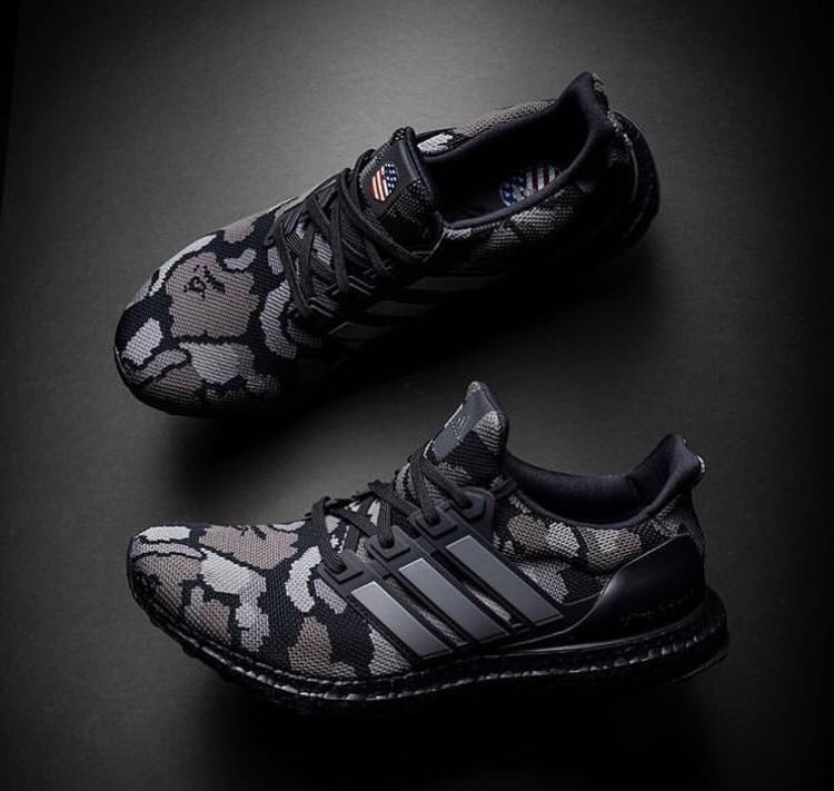 a87684cca617c In Stock)US8 Adidas x Bape Ultraboost 4.0 Camo Black