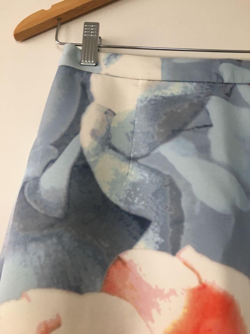 $10 SALE Keepsake Floral neoprene midi skirt - Sz S