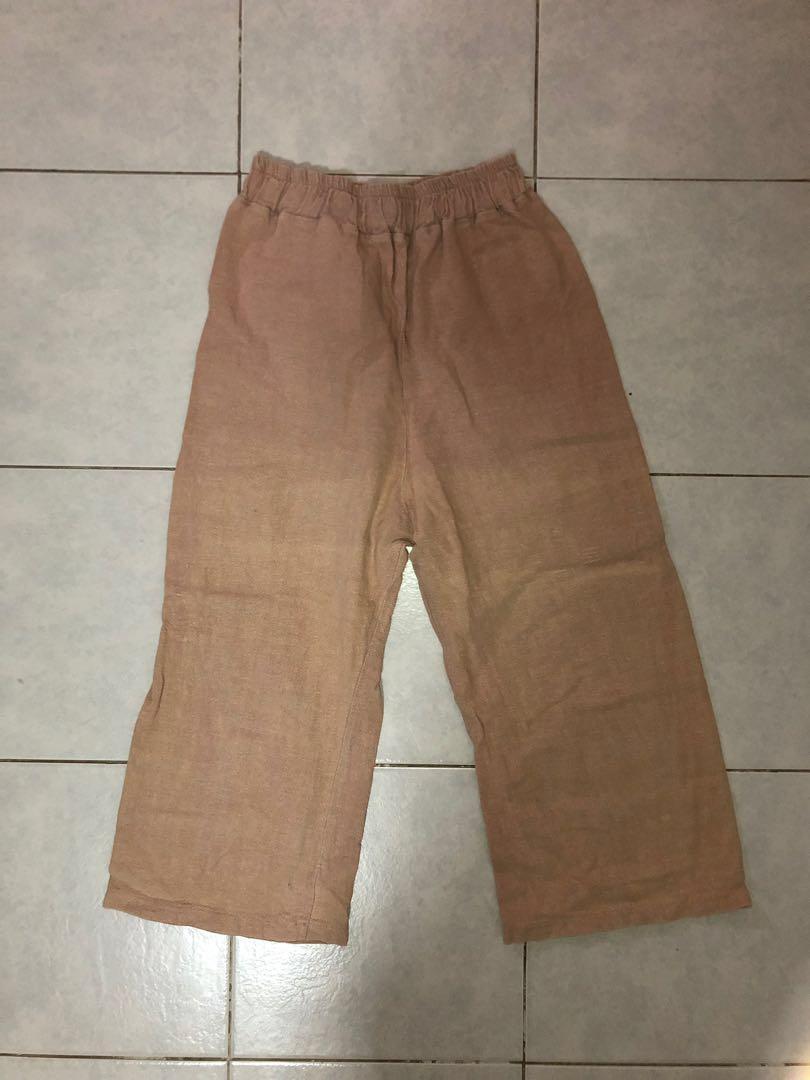 Khaki Brown Wide Leg Pants