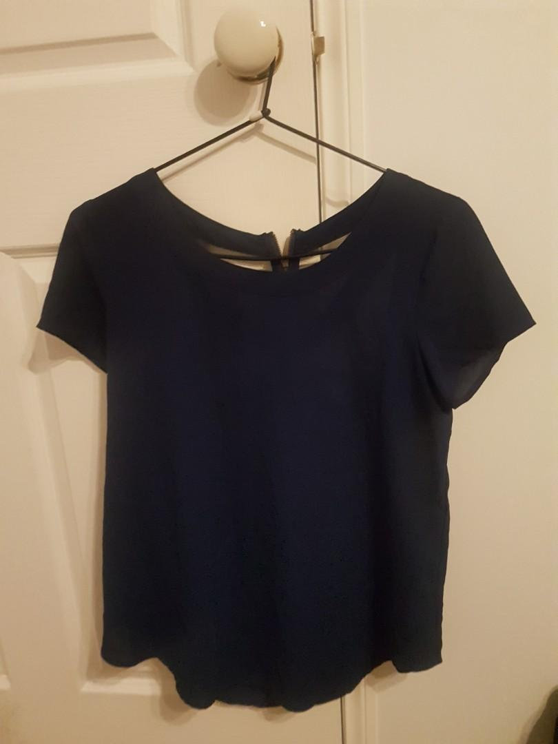 Navy blue blouse with cut out back