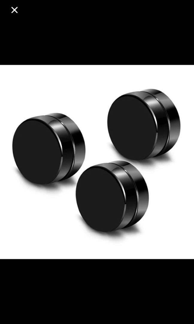 f312f43b7 (Non -piercing)( instock)Black color magnetic ear stud earrings, Men's  Fashion, Accessories, Others on Carousell