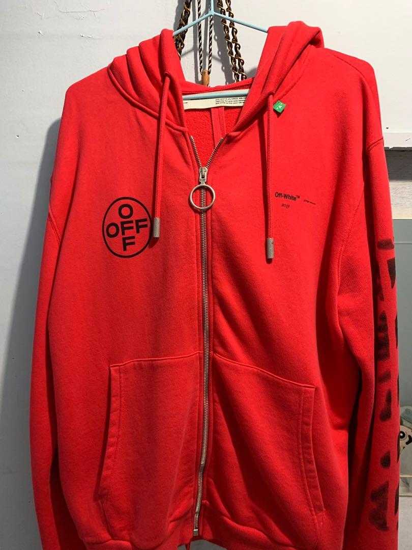 bd553592d OFF-WHITE HOODIES RED BLACK, Men's Fashion, Men's Tops on Carousell