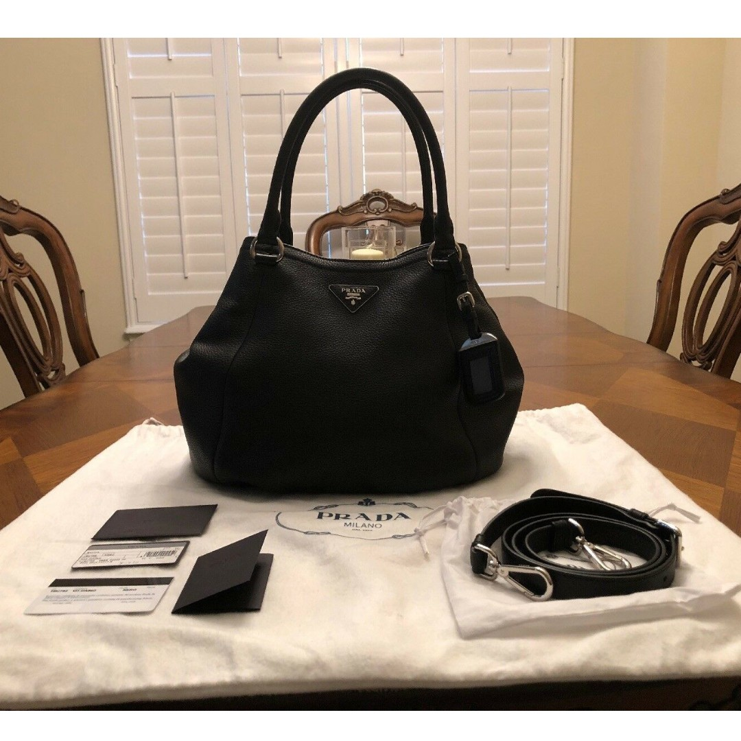 65bc310d6096f Prada Sacca Vitello Daino Nero Pebbled Leather Hobo Bag