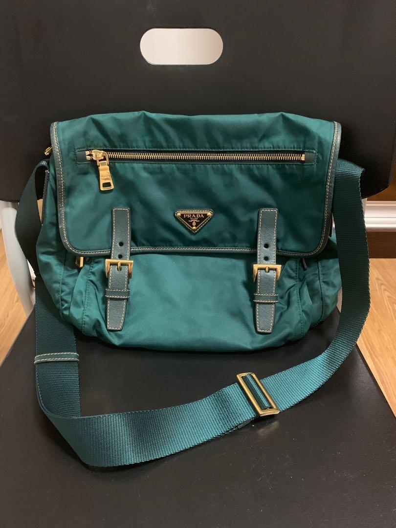 26cf3e130ce13 PRADA Sling Bag 100% AUTHENTIC!!! (Pattina in vela colour petrolio ...