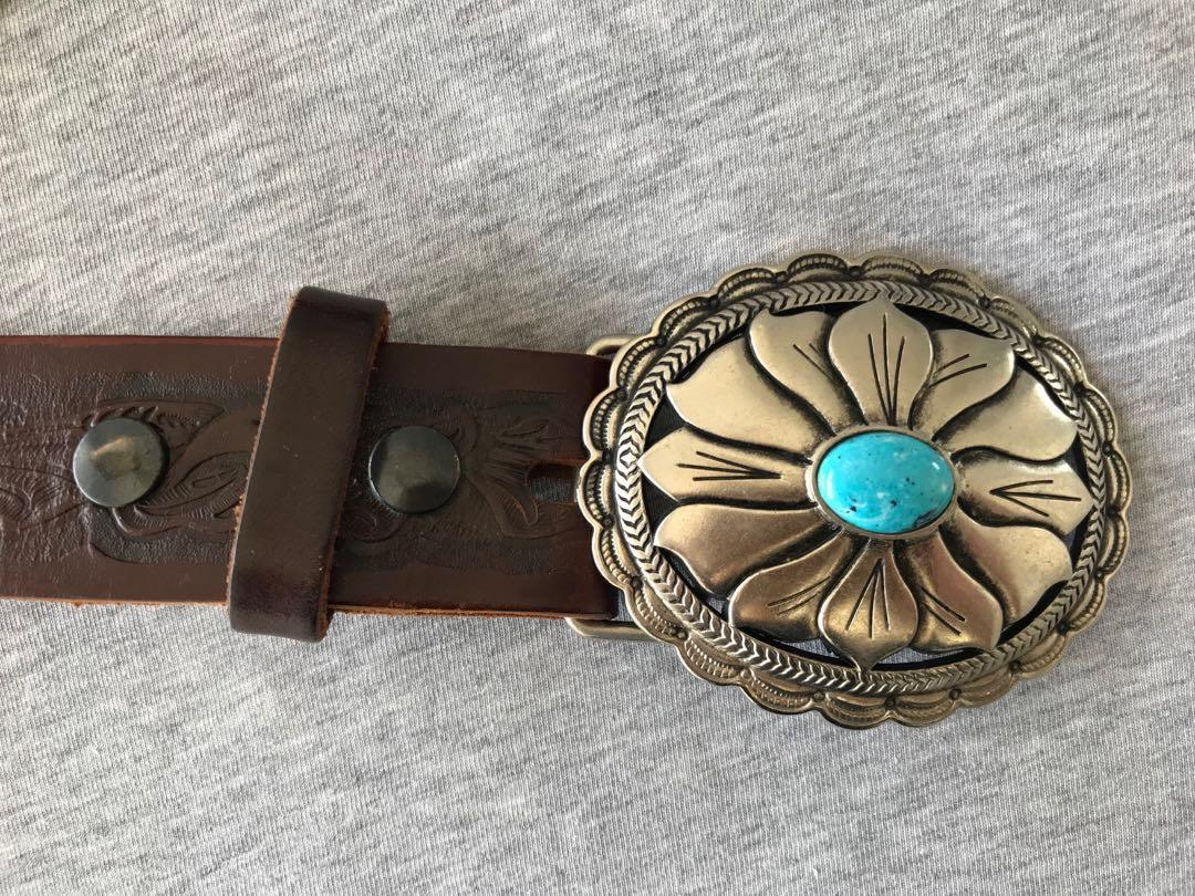 Preloved Oval Turquoise Buckle Belt in Brown Leather
