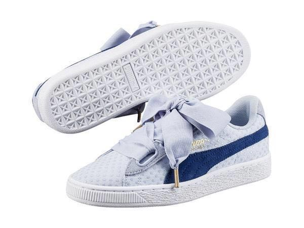 hot sales 03d86 fbc6b Puma Basket Heart Denim Trainer in Blue
