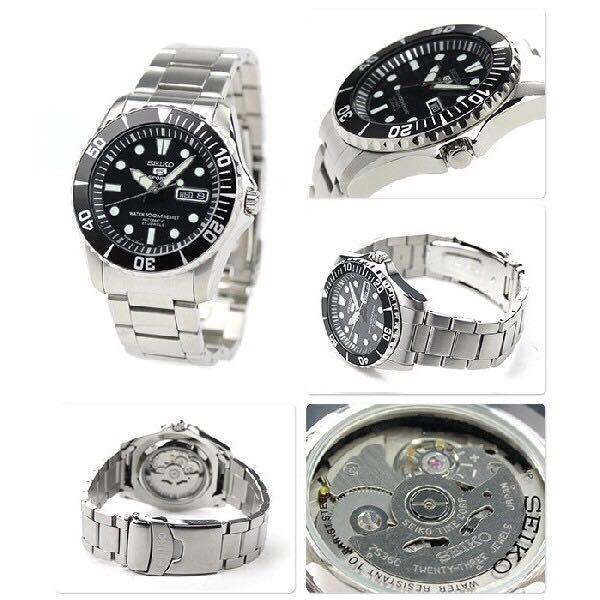 SEIKO精工5號機械鋼帶錶-黑框SNZF17J1