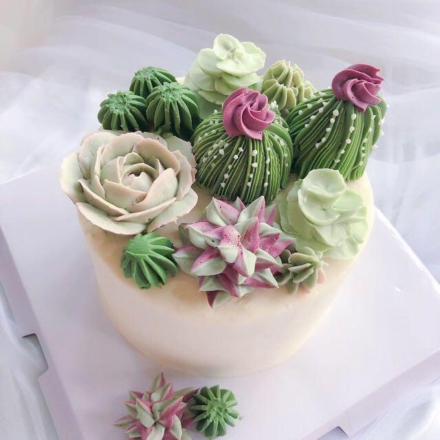 Succulent Terrarium Buttercream Cake Designer Special Birthday Korean Singapore Flower Bouquet Food Drinks Baked Goods On