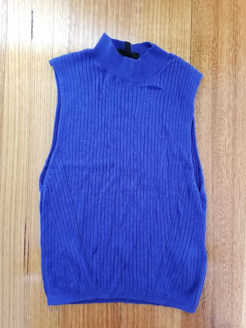 Topshop electric blue sleeveless knitwear top size 12