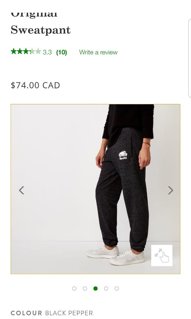 Women Roots Original Black Pepper Sweatpants in Small