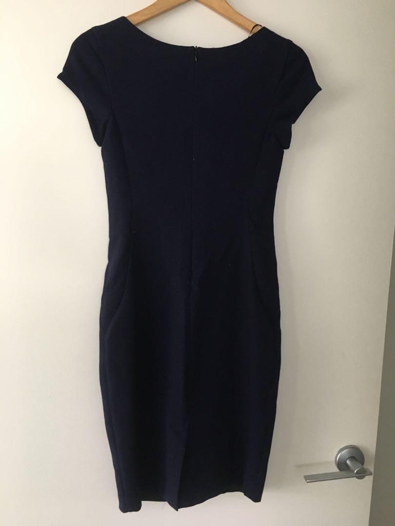 Zara navy work corporate midi pencil dress - Sz XS