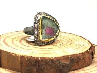 Watermelon Tourmaline and Diamond Ring in Silver 925 (black plating)