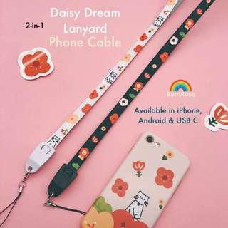🚚 Daisy Dream 2-IN-1 Lanyard Charging Cable