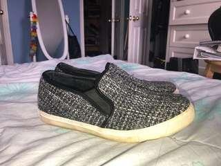 Knit Grey and Black Slip On Shoes