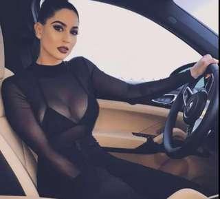 🚚 歐美 bodysuit 網紗
