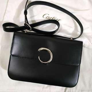 Authentic Cartier Vintage Shoulder Bag Black Silver