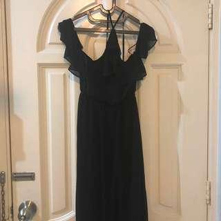 H&M Chiffon Halter Neck/Cold Shoulder Formal Dress