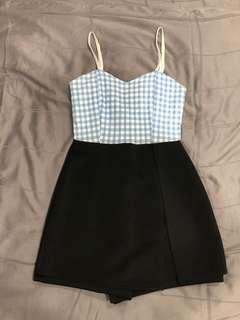 🚚 Blue checkered Grid Slit Romper