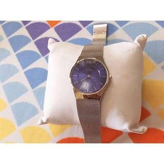 Skagen 233SSSN Women's Denmark Ultra Slim Blue Dial Mesh Bracelet Steel Watch