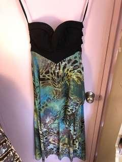 High-low strapless maxi