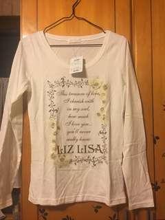 🚚 LIZ LISA米白玫瑰花薄長袖上衣