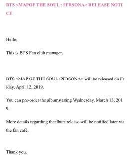 BTS <Map of the Soul : PERSONA> Pre Order Album