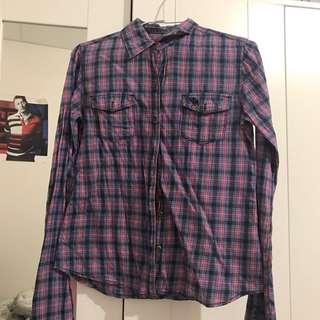 🚚 A&F紫色格紋襯衫👔